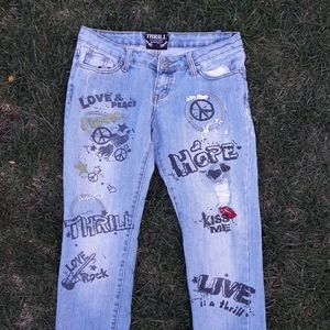 Thrill Jeans with Graffiti size 7